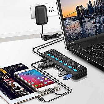 רכזת נתונים USB פעילה 3.0 7 יציאות לטעינה והעברת נתונים