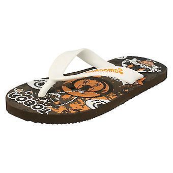 Boys Samoa Flat Plugged Patterned Insole Slip On Sandals Justin