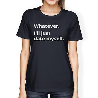 Heden mezelf Womens Navy bemanning hals T Shirt uniek grafisch ontwerp