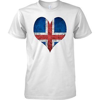 Icleand lippu rakkaus sydän Grunge Effect - lasten T-paita