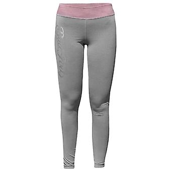 Bad Girl Logo Long Fitness Tights - Charcoal Marl/Pink Marl