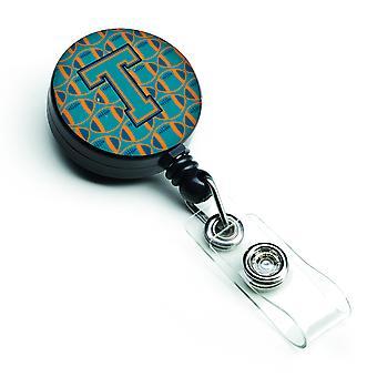 Letter T Football Aqua, Orange and Marine Blue Retractable Badge Reel