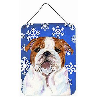 Bulldog svenska vinter snöflingor Holiday vägg eller dörr hängande utskrifter