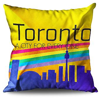 Pride Love Toronto Linen Cushion 30cm x 30cm | Wellcoda