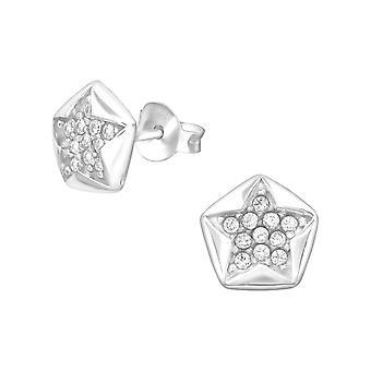 Звезда - 925 стерлингового серебра кубического циркония уха шпильки - W33868x