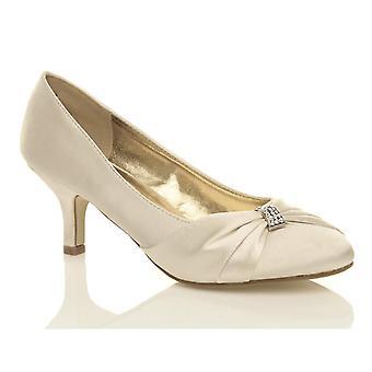Ajvani womens låg mitten av hälen rynkad diamante kväll bal bröllop brud skor