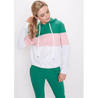 Color Block Stripe con cappuccio Loungewear Set verde