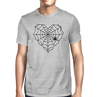 Coeur Spider Web Tee Shirt Halloween Mens foncé gris Graphic T-Shirt
