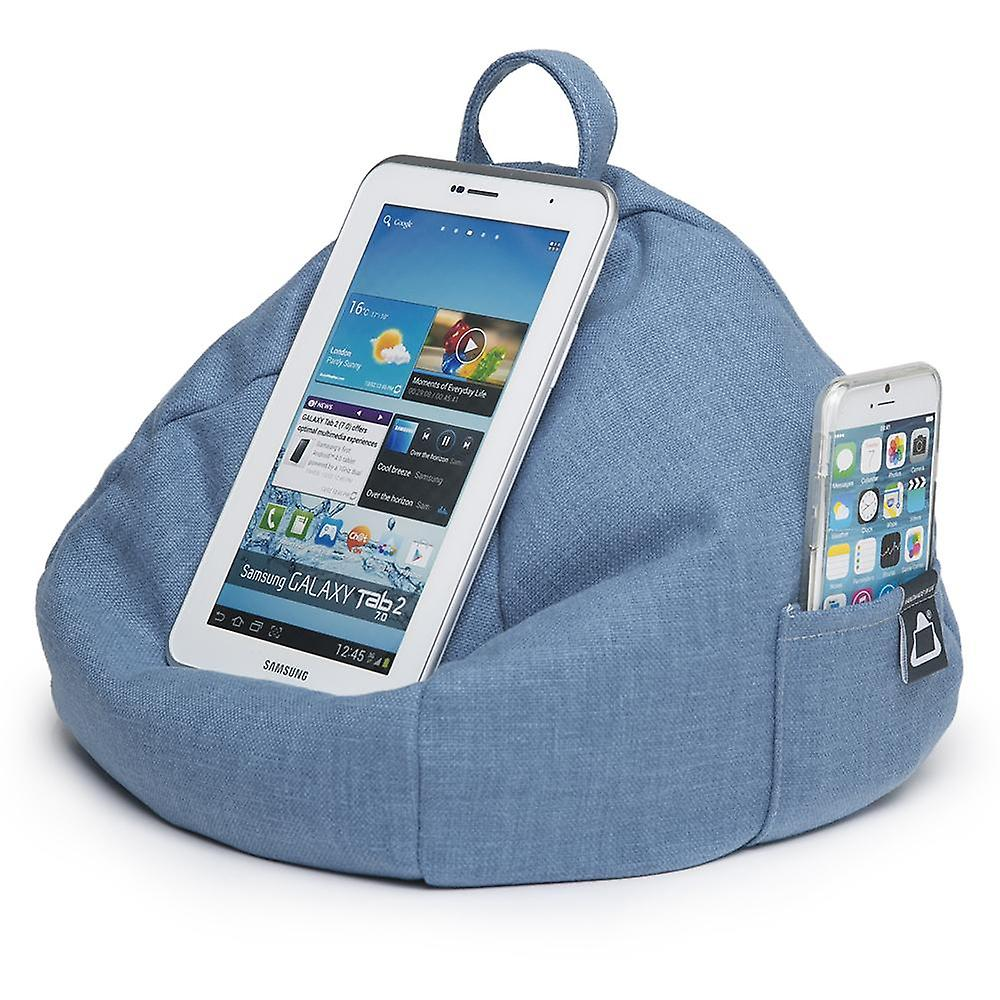 Ipad, tablet & ereader bean bag stand by ibeani - denim blue