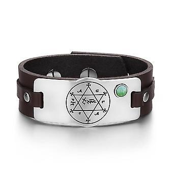 Kung Salomo cirkel av Pentacle Hexagram amulett Kvarts grön pärla brunt läderarmband