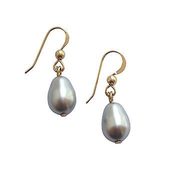 Gemshine Womens örhängen pärlstav silvergrå droppe guldpläterad 11 mm