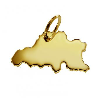 Trailer map Belgium pendant in solid 585 yellow gold