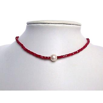 Red chain Ruby 9 mm cultured pearl necklace gold plated clasp