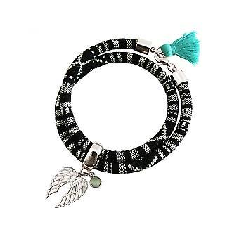 -Браслет - браслет - 925 серебро - Двухместный крыло - Ангел - АЦТЕКОВ - халцедон - морской Зеленый