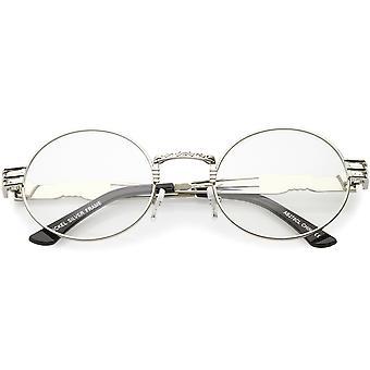 مستوحاة Steampunk عدسة العين البيضاوي النظارات فريدة من التفصيل معدنية محفورة واضحة 60 مم