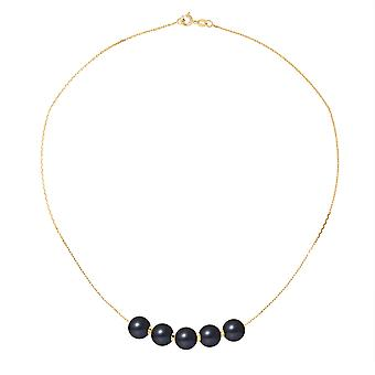 Women's neck collar 5 Black freshwater cultured pearls 8 mm AA and Yellow Gold 750/1000 7957