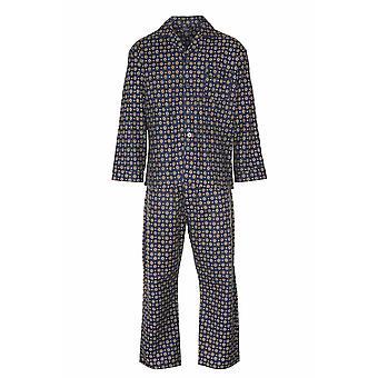 Mester Mens Diamond Wyncette Bomull Pyjamas Lounge Slitasje - Blå - M