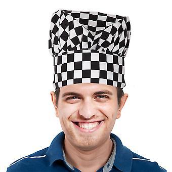 TRIXES Professional Küchenchef Hut schwarz & weiß kariert