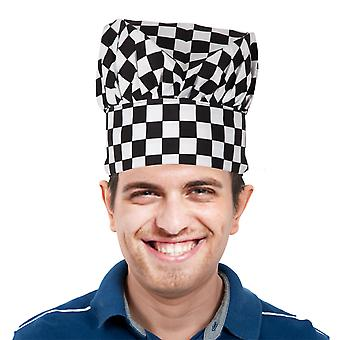 TRIXES Professional kök kock hatt svart & vit rutig