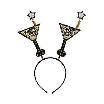 Haar Accessoires goldene Happy NewYear Haar-Accessoire mit Champagner-Gläser