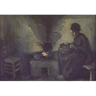 Talon poika nainen lähellä tuli sija, Vincent Van Gogh, 22x40cm