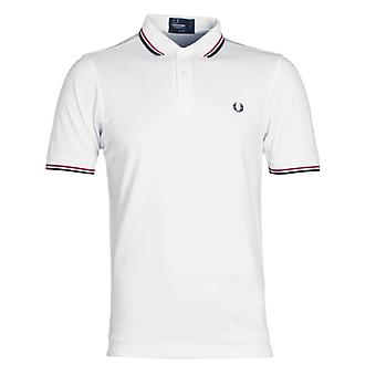 Fred Perry M3600 blanco, rojo brillante y azul marino doble punta Slim Fit polo de