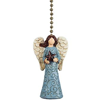 Tranquil Blue Angel with Star Ceiling Fan Light Dimensional Pull