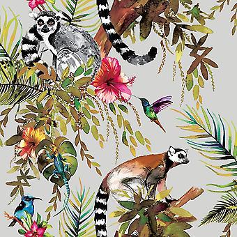 Zilveren veelkleurige Lemur Wallpaper apen bloemen bloemen bomen dieren Holden
