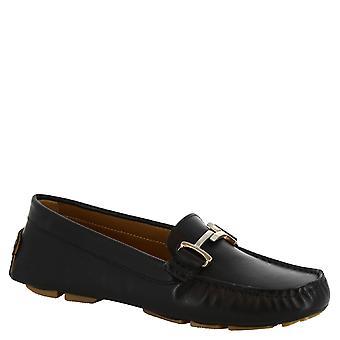 Leonardo skor kvinnors handgjorda loafers i svart kalvskinn och gummisula