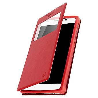 Smartphone Case 5,9'' Card Holder Window Video stand,slide Red