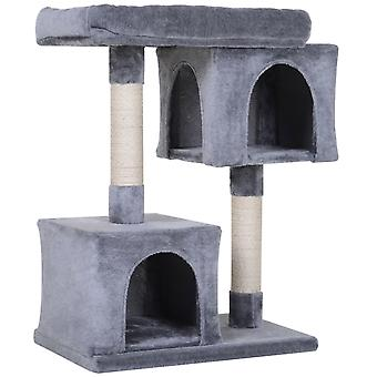 PawHut Cat Tree Kitty Activity Center Sisal-Covered Scratching Posts Multi-Level Perch Condo Grey