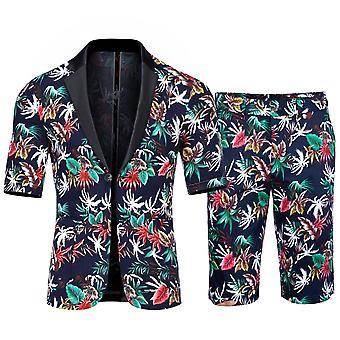 Allthemen Men's Short Sleeve Suits 2-Piece Plant Printed Short Blazer&Short Pants