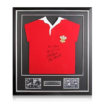 Wales Rugby Shirt Signed By Edwards, Williams, Bennett And John. Deluxe Frame