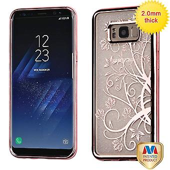 MYBAT Rose Gold Electroplating/Maple Vine Sheer Glitter Premium Candy Skin Cover  for Galaxy S8 Plus