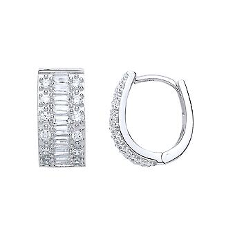 Jewelco London Ladies Rhodium Plated Silver White Baguette and Round cubic zirconia Pave Eternity Ring Hoop Earrings