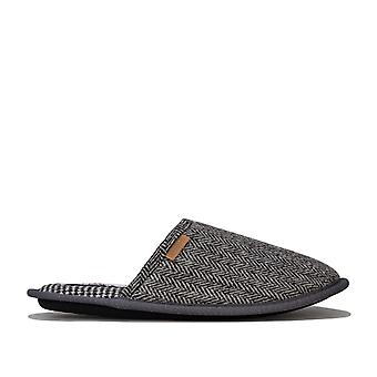 Mens Ben Sherman One & Only Mule Slipper In Grey Black- Slip On- Cushioned
