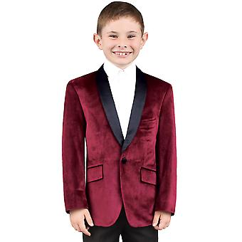 Dobell Boys Burgundy Jacket Regular Fit Velvet Contrast Shawl Lapel
