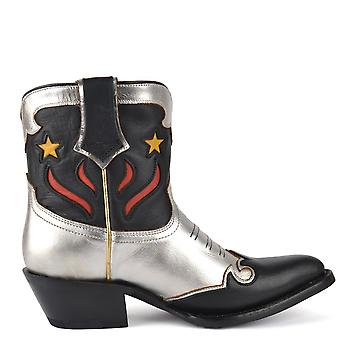 Ash PETRA SW Star Boots Black And Silver Leather