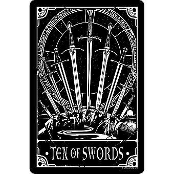 Deadly Tarot Ten Of Swords Tin Sign