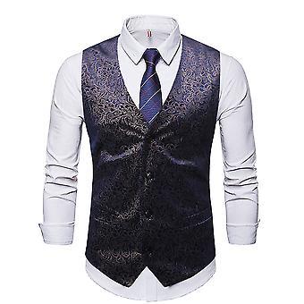 Allthemen Men-apos;s Floral Printed V-Neck Business Casual Four Seasons Costume Vest