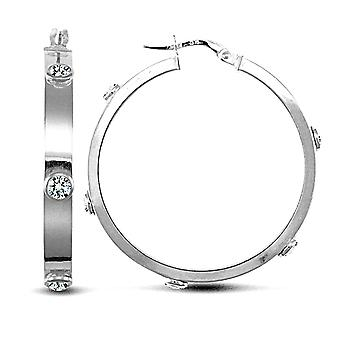 Jewelco London Ladies 9ct White Gold White Round Brilliant Cubic Zirconia Square Tube 4mm Hoop Earrings 32mm