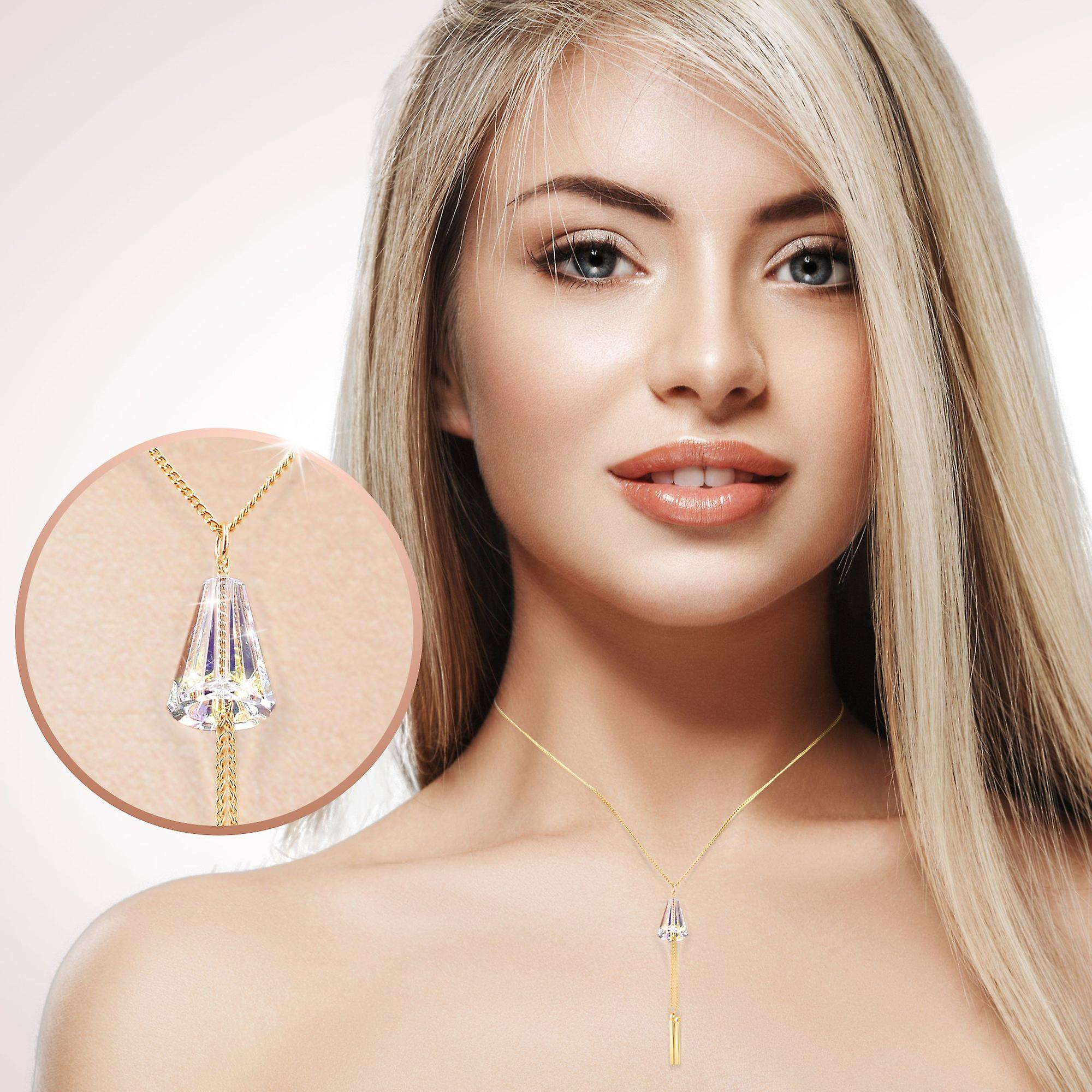 Gold plated necklaces with swarovski crystal. pendant necklace. by 2splendid. gift box included. nnqz005