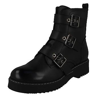 Ladies Spot On Buckle Ankle Boots F51069