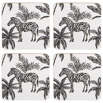Navigate Madagascar Set of 4 Coasters, Zebra Palm
