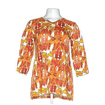 LOGO by Lori Goldstein Women's Top Cotton Slub Tee Orange A303233