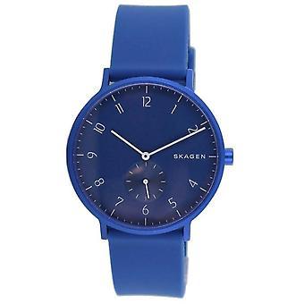 Skagen hombres unisex reloj de pulsera Aaren silicona azul SKW6508