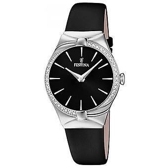 Festina horloge Miss F20388-4 - toont stalen zwarte armband leer zwart vrouw