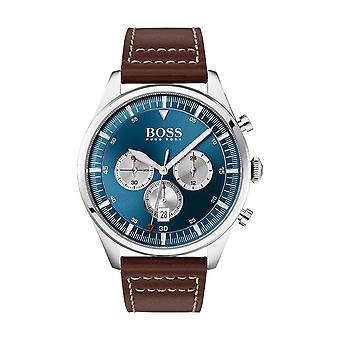 Hugo Boss Uhr 1513709 - Pioneer Chrono Box Stahl blaues Zifferblatt und Silber Herren braun Lederarmband