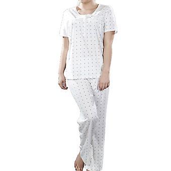 Senhoras Spot Botão de manga curta frente pijama simosde pijama saem de pijama L/XL Rosa