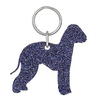 Purple Bedlington Terrier Style 1 Glitter Acrylic Keyring